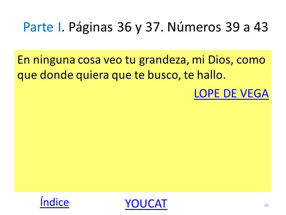 Parte I. Páginas 36 y 37. Números 39 a 43 En ninguna cosa veo tu grandeza, mi Dios, como que donde quiera que te busco, te hallo. LOPE DE VEGA 45 Índi