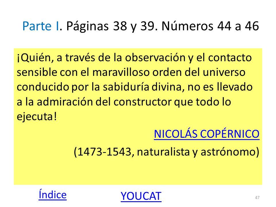 Parte I. Páginas 38 y 39. Números 44 a 46 ¡Quién, a través de la observación y el contacto sensible con el maravilloso orden del universo conducido po