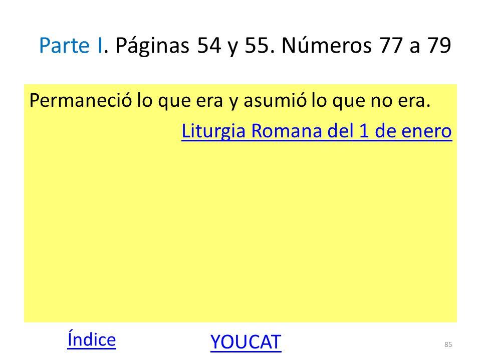 Parte I. Páginas 54 y 55. Números 77 a 79 Permaneció lo que era y asumió lo que no era. Liturgia Romana del 1 de enero 85 Índice YOUCAT