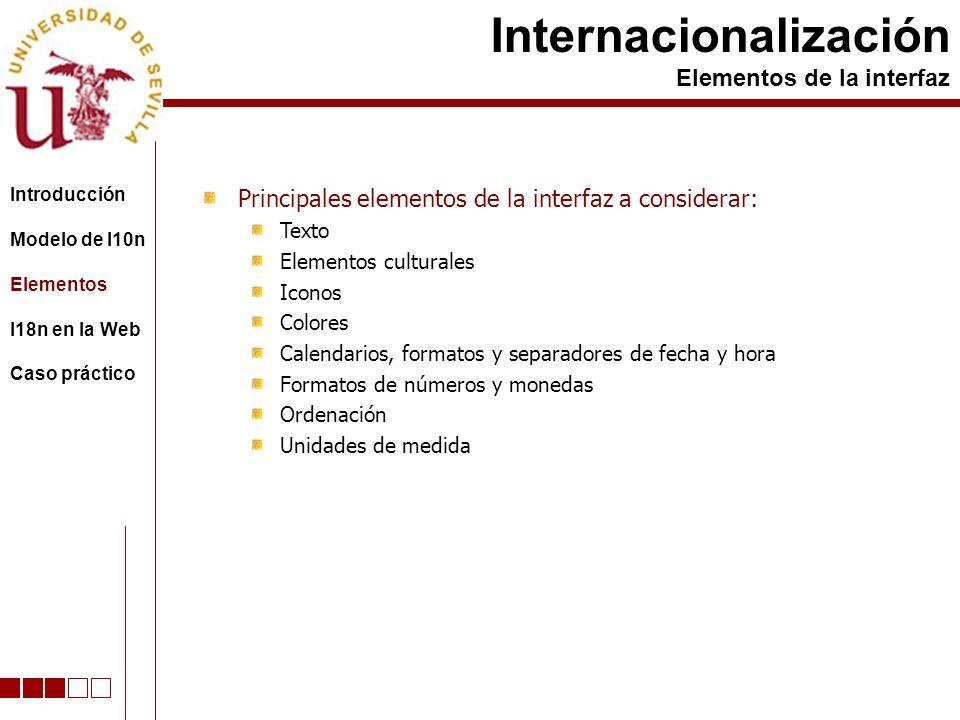 Principales elementos de la interfaz a considerar: Texto Elementos culturales Iconos Colores Calendarios, formatos y separadores de fecha y hora Formatos de números y monedas Ordenación Unidades de medida Internacionalización Elementos de la interfaz Introducción Modelo de l10n Elementos I18n en la Web Caso práctico