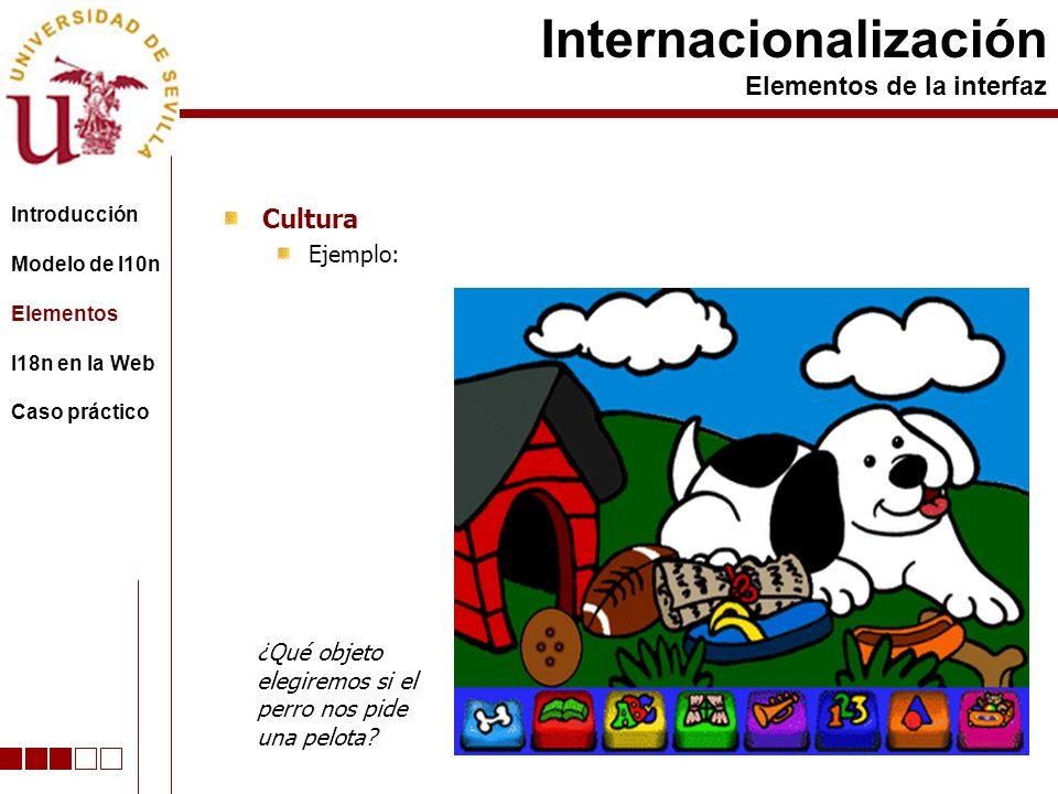 Cultura Ejemplo: Internacionalización Elementos de la interfaz Introducción Modelo de l10n Elementos I18n en la Web Caso práctico ¿Qué objeto elegiremos si el perro nos pide una pelota?