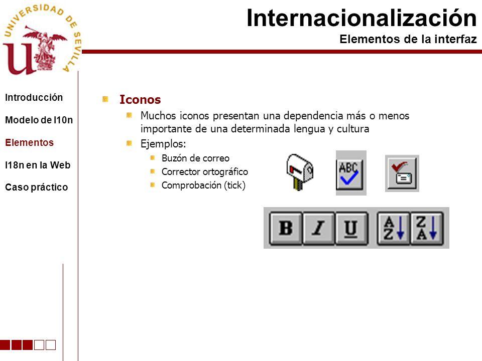 Iconos Muchos iconos presentan una dependencia más o menos importante de una determinada lengua y cultura Ejemplos: Buzón de correo Corrector ortográfico Comprobación (tick) Internacionalización Elementos de la interfaz Introducción Modelo de l10n Elementos I18n en la Web Caso práctico