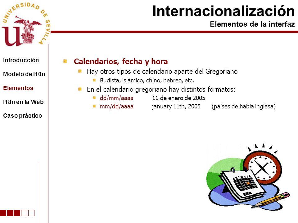 Calendarios, fecha y hora Hay otros tipos de calendario aparte del Gregoriano Budista, islámico, chino, hebreo, etc.
