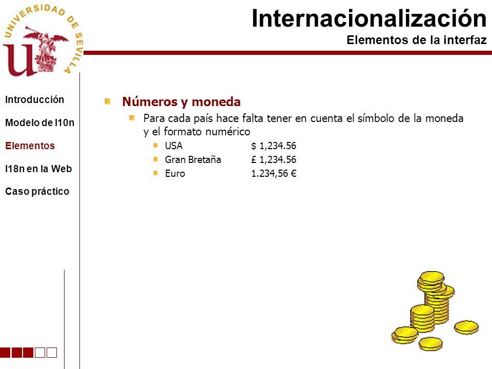 Números y moneda Para cada país hace falta tener en cuenta el símbolo de la moneda y el formato numérico USA$ 1,234.56 Gran Bretaña£ 1,234.56 Euro1.234,56 Internacionalización Elementos de la interfaz Introducción Modelo de l10n Elementos I18n en la Web Caso práctico