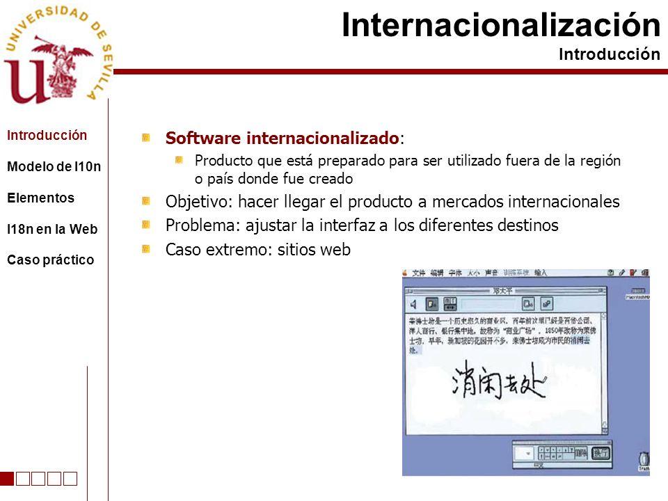 Software internacionalizado: Producto que está preparado para ser utilizado fuera de la región o país donde fue creado Objetivo: hacer llegar el produ