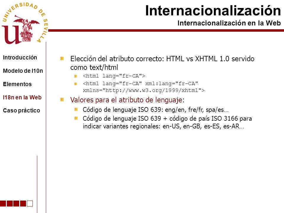 Elección del atributo correcto: HTML vs XHTML 1.0 servido como text/html Valores para el atributo de lenguaje: Código de lenguaje ISO 639: eng/en, fre