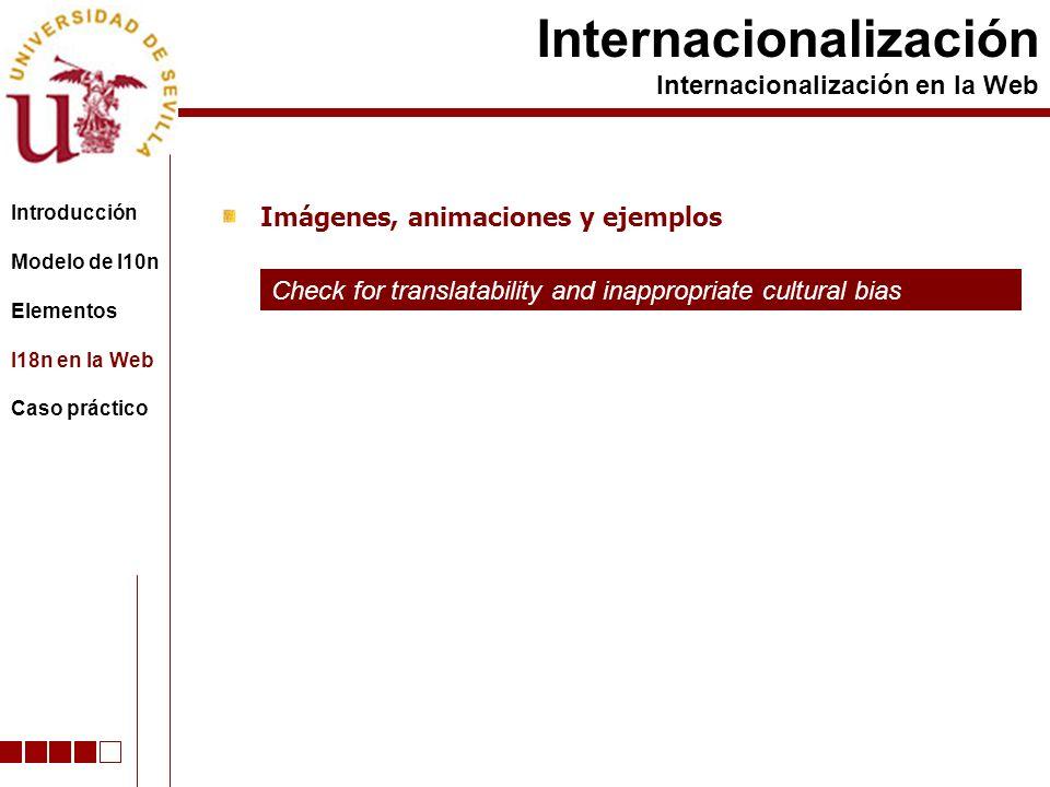 Imágenes, animaciones y ejemplos Internacionalización Internacionalización en la Web Check for translatability and inappropriate cultural bias Introdu