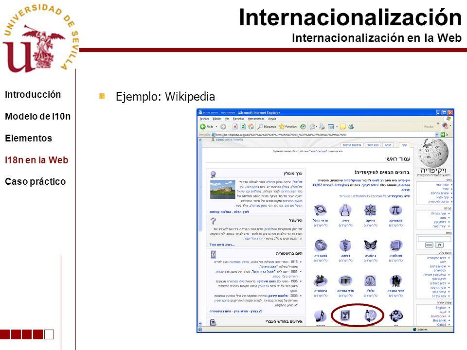 Ejemplo: Wikipedia Internacionalización Internacionalización en la Web Introducción Modelo de l10n Elementos I18n en la Web Caso práctico