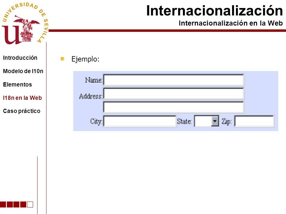 Ejemplo: Internacionalización Internacionalización en la Web Introducción Modelo de l10n Elementos I18n en la Web Caso práctico