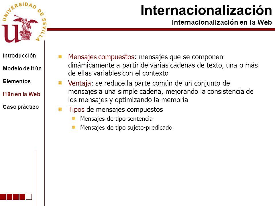 Mensajes compuestos: mensajes que se componen dinámicamente a partir de varias cadenas de texto, una o más de ellas variables con el contexto Ventaja: se reduce la parte común de un conjunto de mensajes a una simple cadena, mejorando la consistencia de los mensajes y optimizando la memoria Tipos de mensajes compuestos Mensajes de tipo sentencia Mensajes de tipo sujeto-predicado Internacionalización Internacionalización en la Web Introducción Modelo de l10n Elementos I18n en la Web Caso práctico