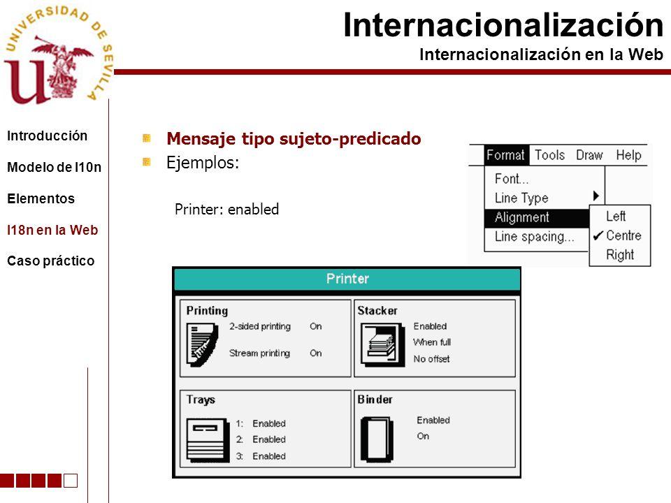 Mensaje tipo sujeto-predicado Ejemplos: Printer: enabled Internacionalización Internacionalización en la Web Introducción Modelo de l10n Elementos I18n en la Web Caso práctico