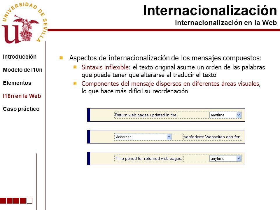 Aspectos de internacionalización de los mensajes compuestos: Sintaxis inflexible: el texto original asume un orden de las palabras que puede tener que