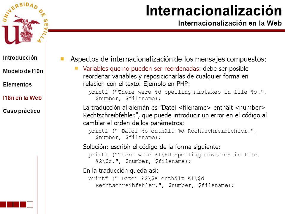 Aspectos de internacionalización de los mensajes compuestos: Variables que no pueden ser reordenadas: debe ser posible reordenar variables y reposicionarlas de cualquier forma en relación con el texto.