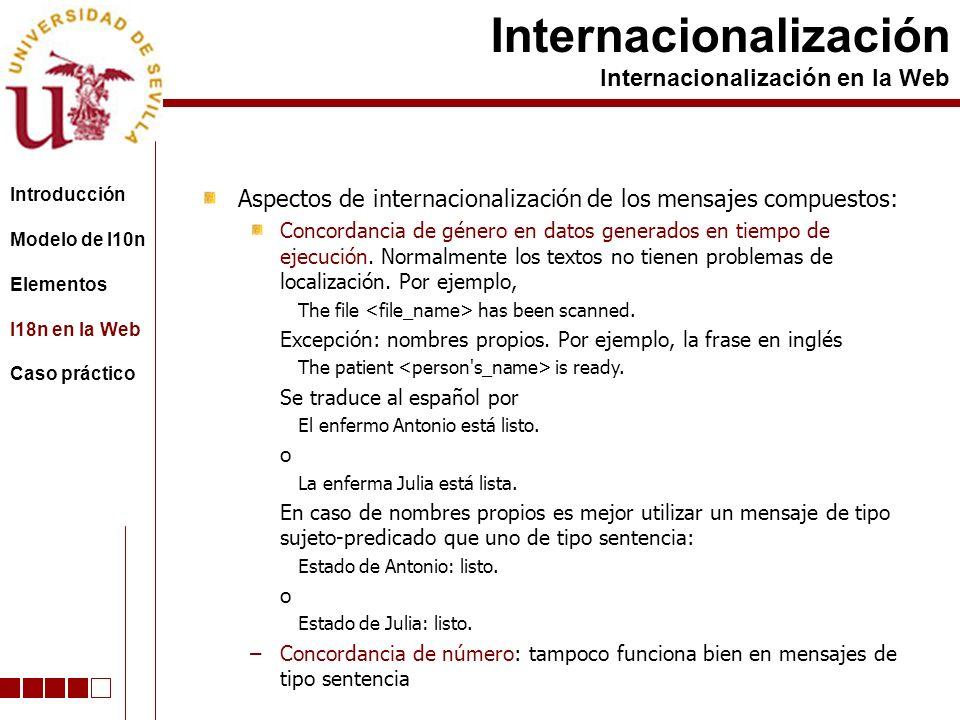 Aspectos de internacionalización de los mensajes compuestos: Concordancia de género en datos generados en tiempo de ejecución. Normalmente los textos