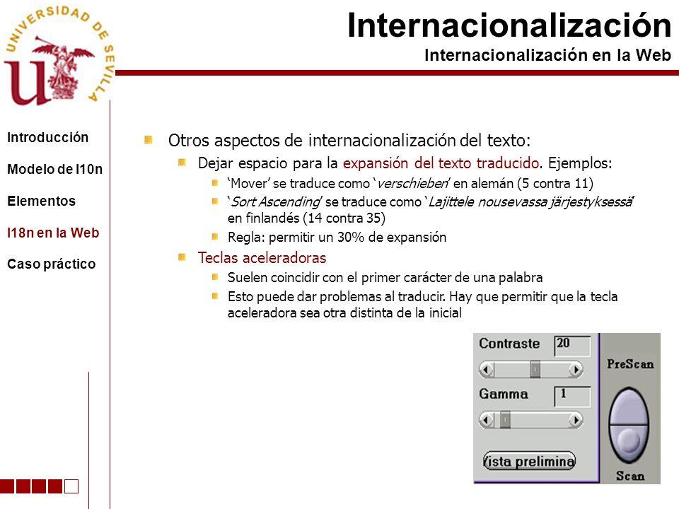 Otros aspectos de internacionalización del texto: Dejar espacio para la expansión del texto traducido. Ejemplos: Mover se traduce como verschieben en