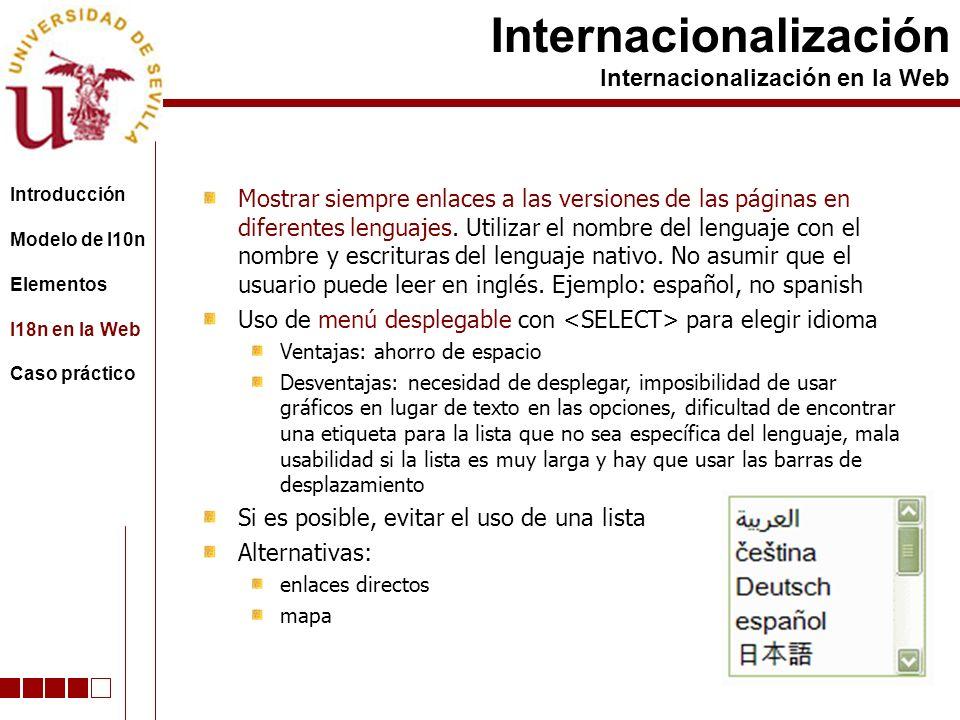 Mostrar siempre enlaces a las versiones de las páginas en diferentes lenguajes. Utilizar el nombre del lenguaje con el nombre y escrituras del lenguaj