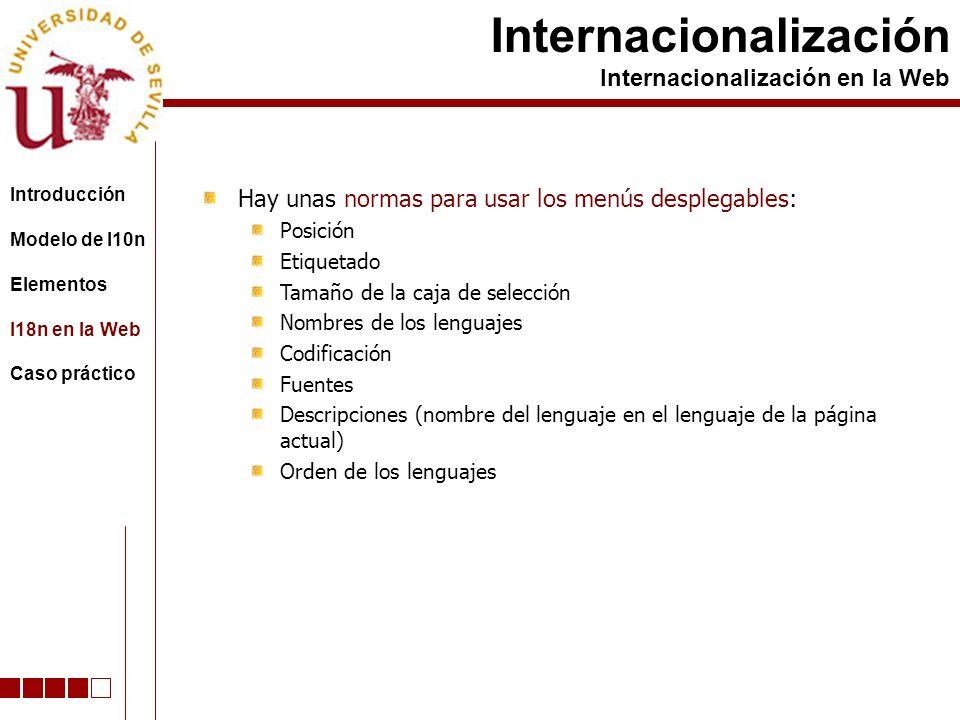 Hay unas normas para usar los menús desplegables: Posición Etiquetado Tamaño de la caja de selección Nombres de los lenguajes Codificación Fuentes Descripciones (nombre del lenguaje en el lenguaje de la página actual) Orden de los lenguajes Internacionalización Internacionalización en la Web Introducción Modelo de l10n Elementos I18n en la Web Caso práctico
