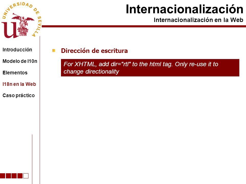Dirección de escritura Internacionalización Internacionalización en la Web For XHTML, add dir= rtl to the html tag.