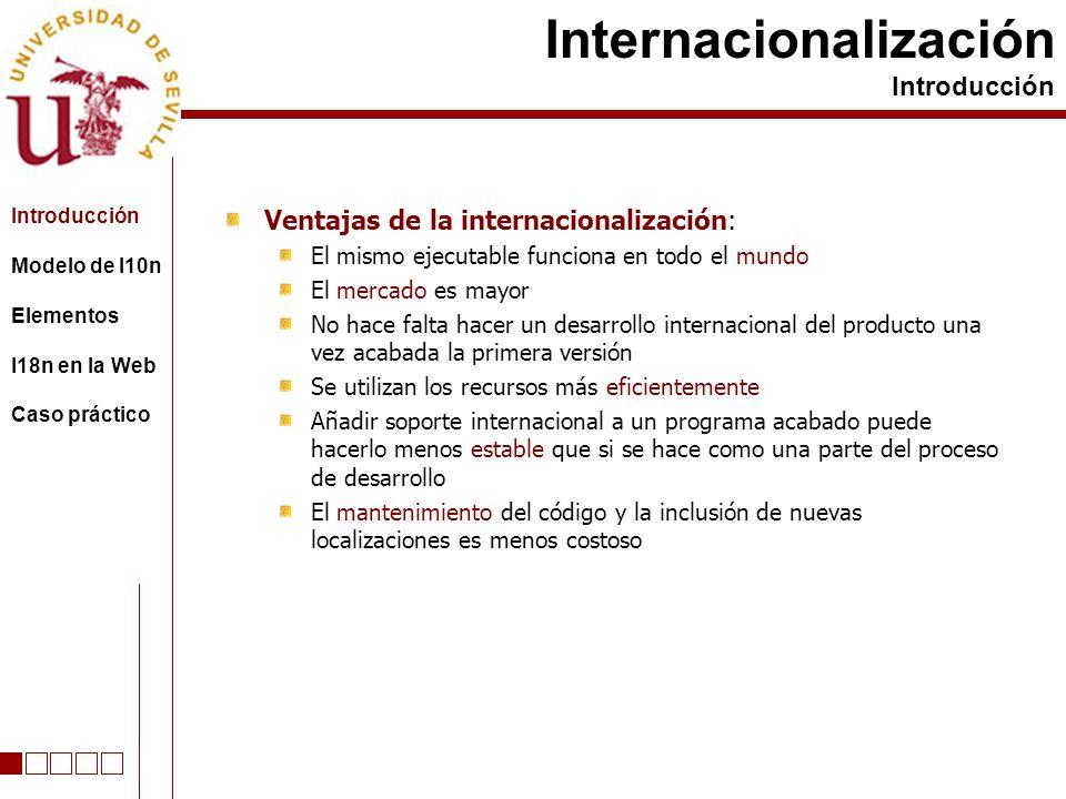 Ventajas de la internacionalización: El mismo ejecutable funciona en todo el mundo El mercado es mayor No hace falta hacer un desarrollo internacional