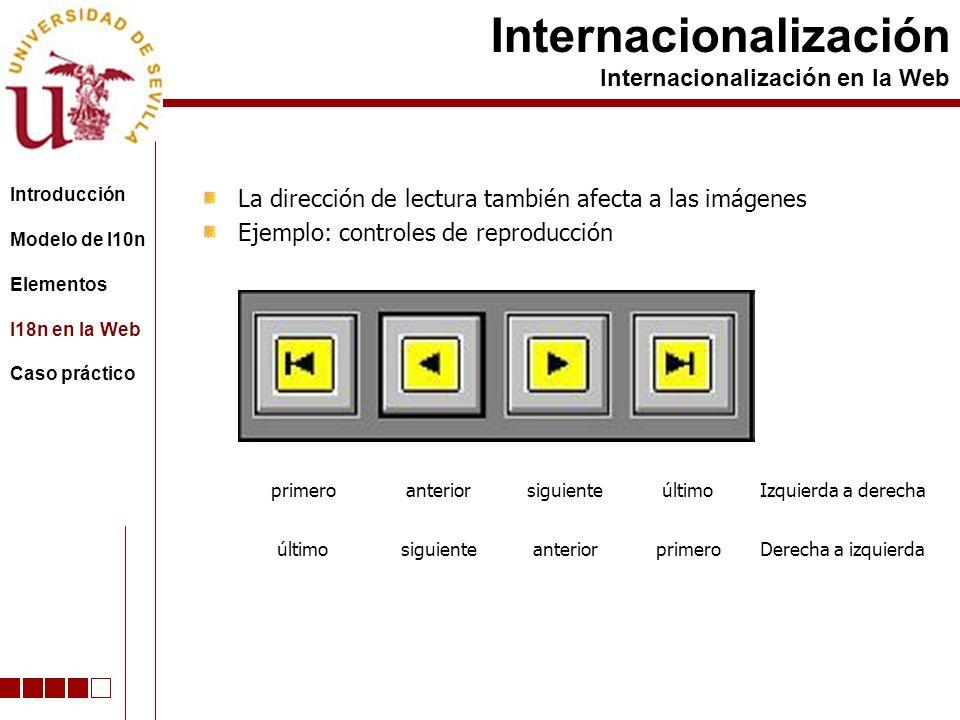 La dirección de lectura también afecta a las imágenes Ejemplo: controles de reproducción Internacionalización Internacionalización en la Web primeroanteriorsiguienteúltimo siguienteanteriorprimero Izquierda a derecha Derecha a izquierda Introducción Modelo de l10n Elementos I18n en la Web Caso práctico