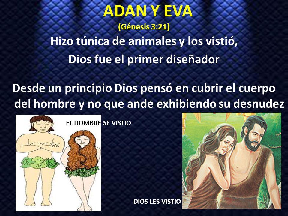 ADAN Y EVA (Génesis 3:21) Hizo túnica de animales y los vistió, Dios fue el primer diseñador Desde un principio Dios pensó en cubrir el cuerpo del hom