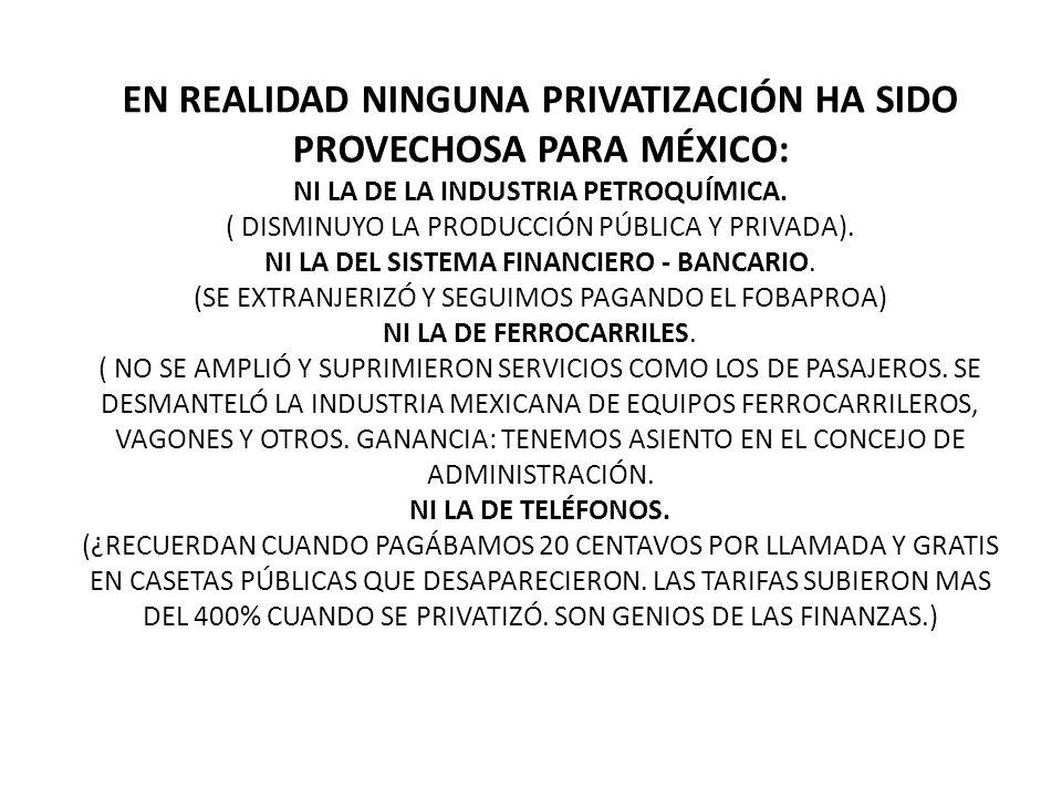 EN REALIDAD NINGUNA PRIVATIZACIÓN HA SIDO PROVECHOSA PARA MÉXICO: NI LA DE LA INDUSTRIA PETROQUÍMICA.