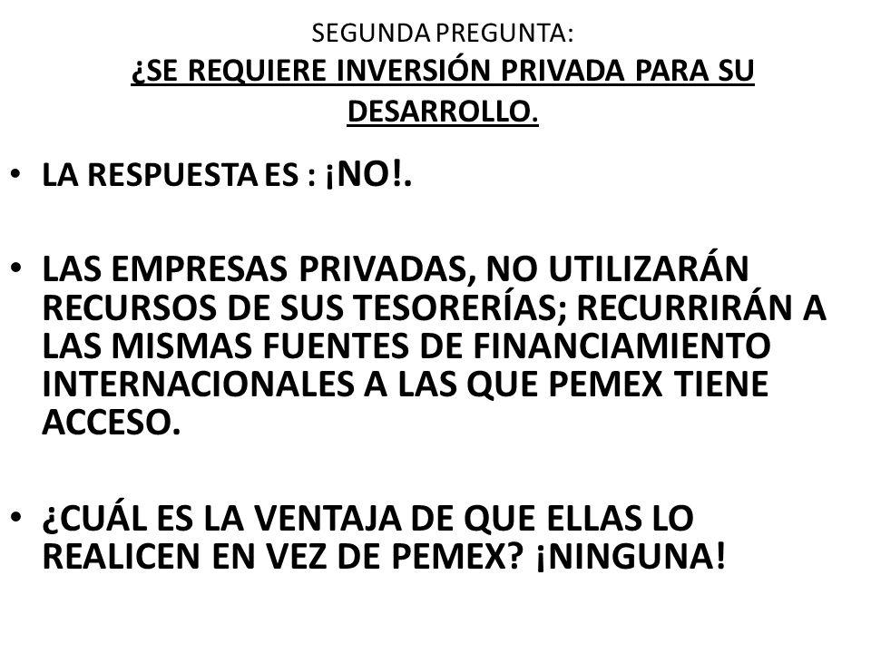 SEGUNDA PREGUNTA: ¿SE REQUIERE INVERSIÓN PRIVADA PARA SU DESARROLLO.