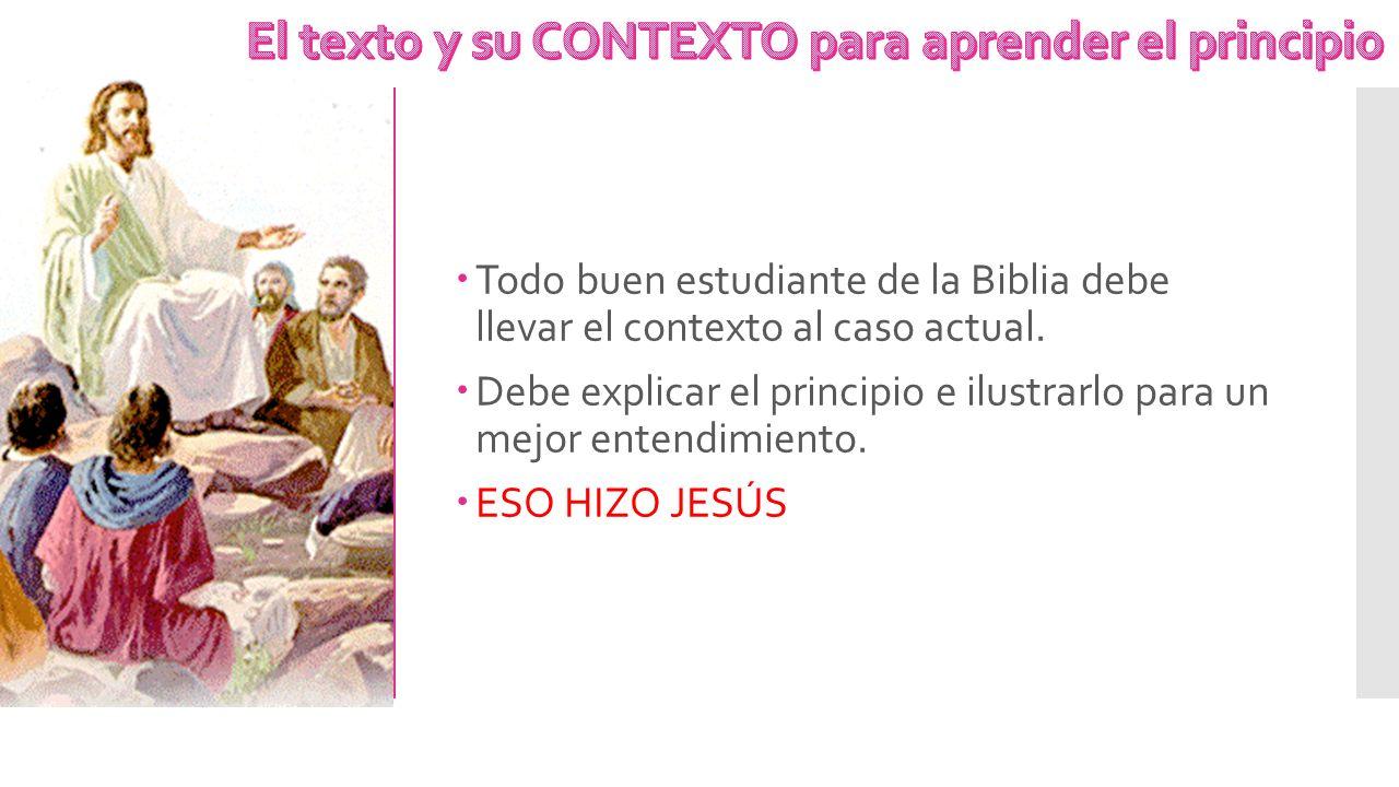 Todo buen estudiante de la Biblia debe llevar el contexto al caso actual. Debe explicar el principio e ilustrarlo para un mejor entendimiento. ESO HIZ