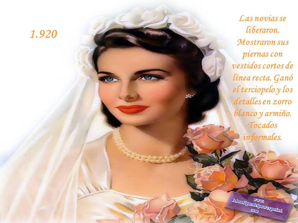 Comienza el siglo, y comienza el vestido blanco, pero no como símbolo de pureza,sino como símbolo de riqueza. 1.910