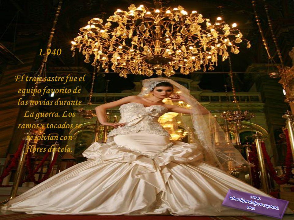 1.930 Las novias apostaron a vestidos de líneas lánguidas, que ajustaban el cuerpo, mangas abullonadas. Revival del estilo victoriano