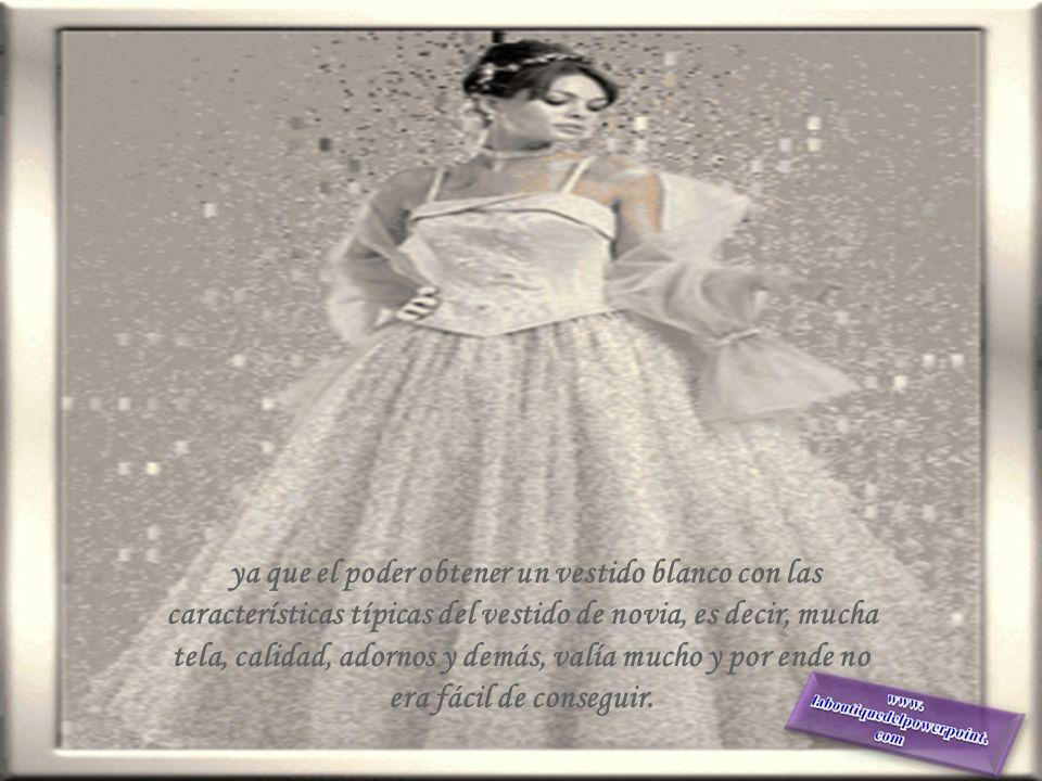 El color del vestido de novia representa una tradición: El blanco se asocia comúnmente a la virginidad, la pureza y la inocencia, que es la asociación