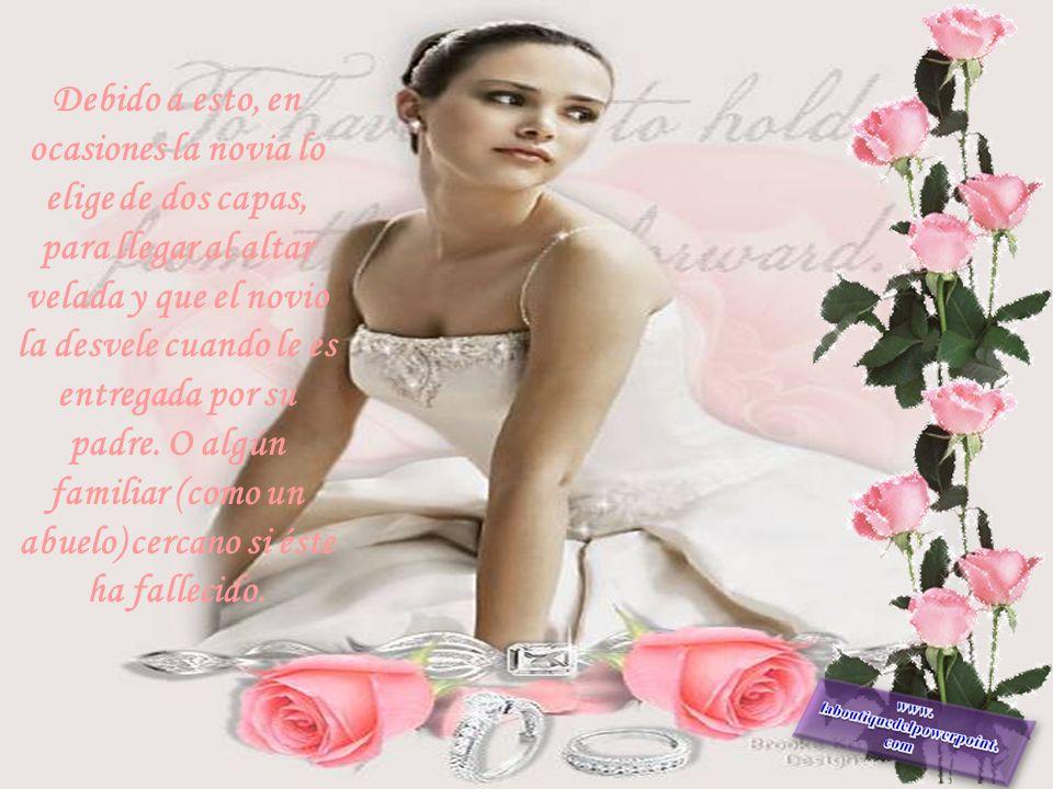 Originalmente, la novia usaba el velo como símbolo de juventud y virginidad (simboliza el himen de la mujer). Las novias católicas lo utilizan como sí