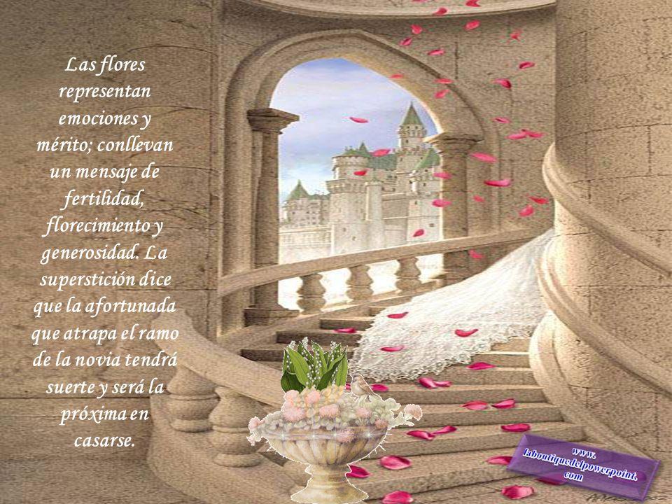 Las flores representan emociones y mérito; conllevan un mensaje de fertilidad, florecimiento y generosidad.