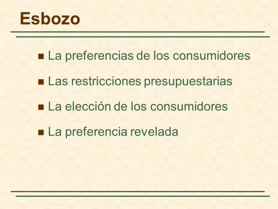 Esbozo La preferencias de los consumidores Las restricciones presupuestarias La elección de los consumidores La preferencia revelada