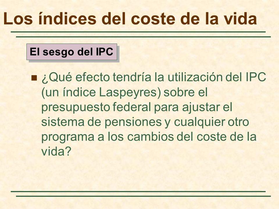 ¿Qué efecto tendría la utilización del IPC (un índice Laspeyres) sobre el presupuesto federal para ajustar el sistema de pensiones y cualquier otro programa a los cambios del coste de la vida.