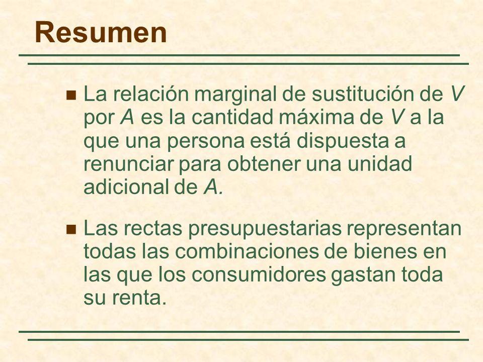 La relación marginal de sustitución de V por A es la cantidad máxima de V a la que una persona está dispuesta a renunciar para obtener una unidad adicional de A.