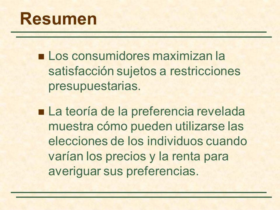 Los consumidores maximizan la satisfacción sujetos a restricciones presupuestarias.