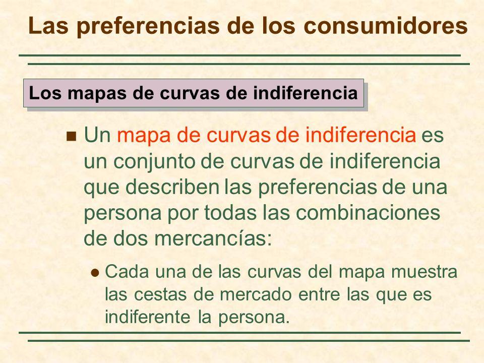 Un mapa de curvas de indiferencia es un conjunto de curvas de indiferencia que describen las preferencias de una persona por todas las combinaciones de dos mercancías: Cada una de las curvas del mapa muestra las cestas de mercado entre las que es indiferente la persona.