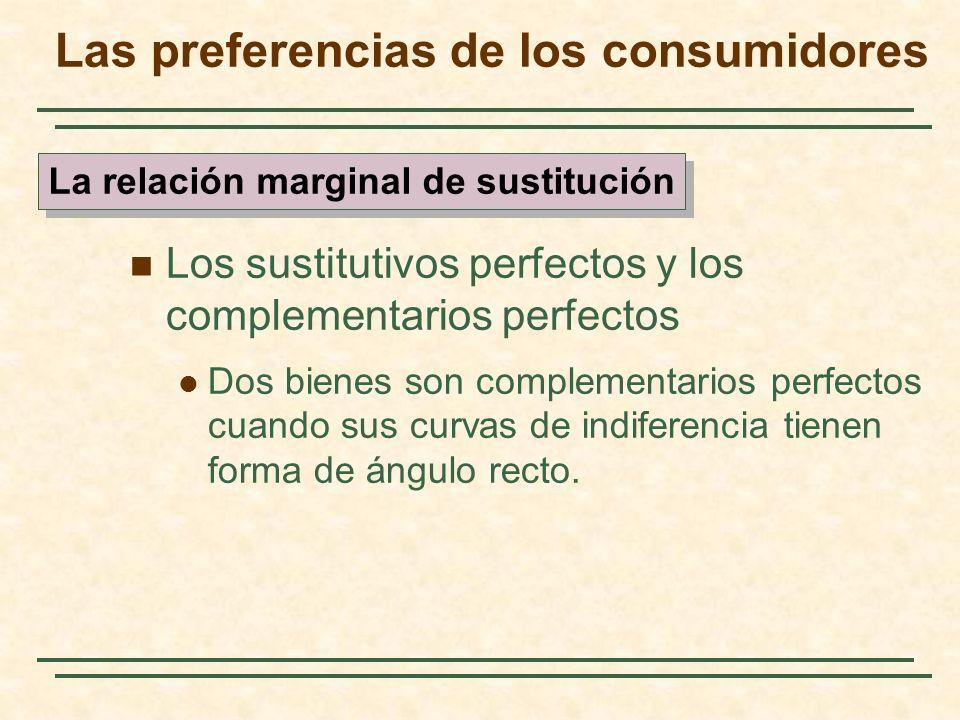 Los sustitutivos perfectos y los complementarios perfectos Dos bienes son complementarios perfectos cuando sus curvas de indiferencia tienen forma de ángulo recto.