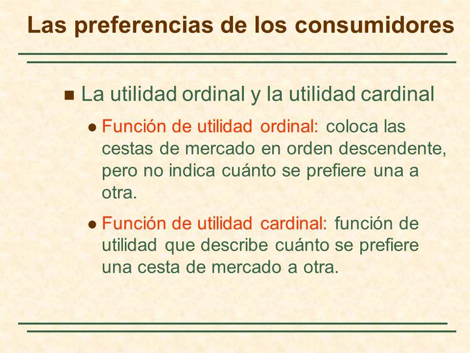 La utilidad ordinal y la utilidad cardinal Función de utilidad ordinal: coloca las cestas de mercado en orden descendente, pero no indica cuánto se prefiere una a otra.