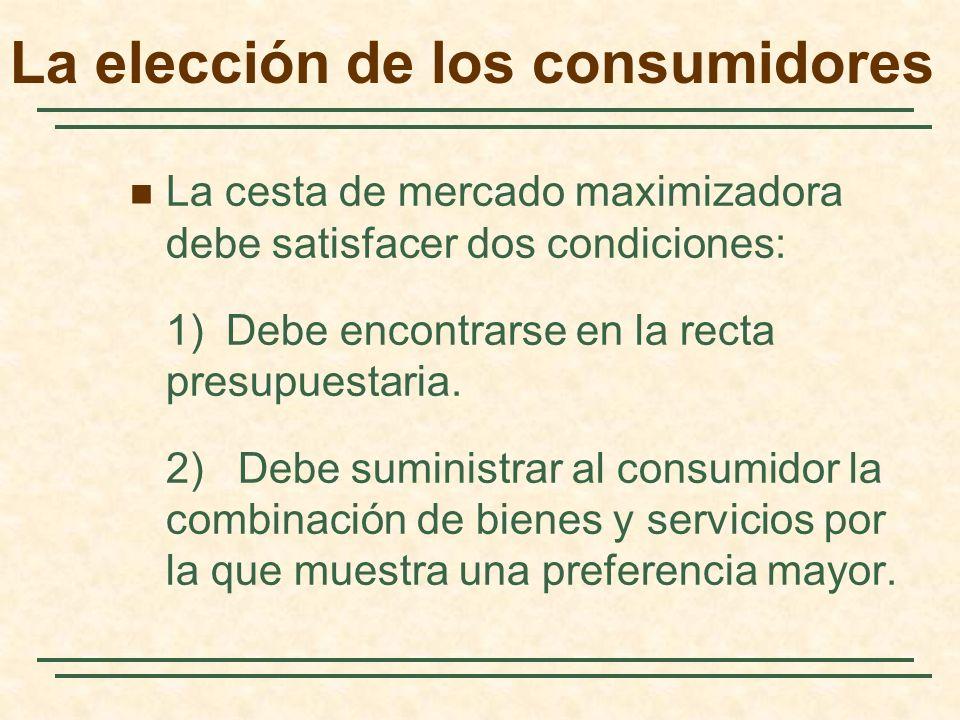 La cesta de mercado maximizadora debe satisfacer dos condiciones: 1) Debe encontrarse en la recta presupuestaria.