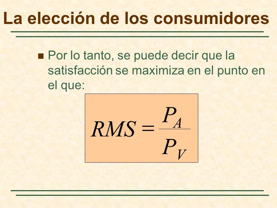Por lo tanto, se puede decir que la satisfacción se maximiza en el punto en el que: PVPV PAPA RMS La elección de los consumidores