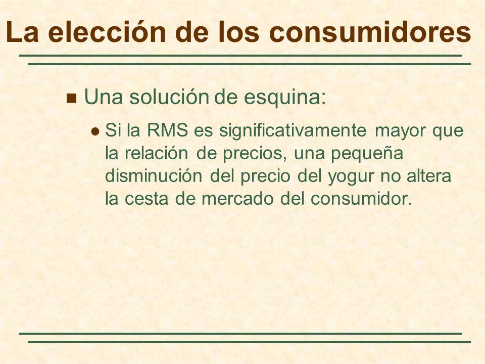 Una solución de esquina: Si la RMS es significativamente mayor que la relación de precios, una pequeña disminución del precio del yogur no altera la cesta de mercado del consumidor.
