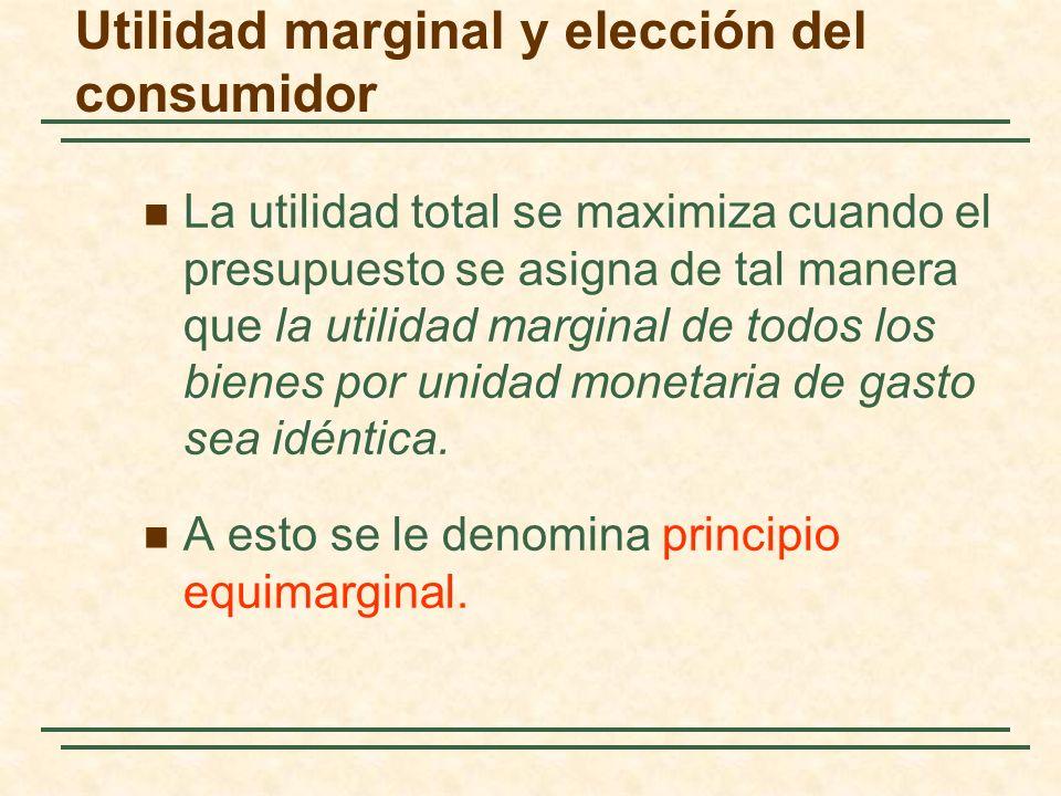 La utilidad total se maximiza cuando el presupuesto se asigna de tal manera que la utilidad marginal de todos los bienes por unidad monetaria de gasto sea idéntica.