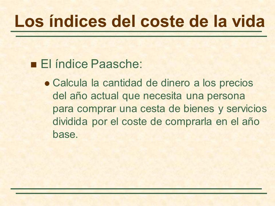 El índice Paasche: Calcula la cantidad de dinero a los precios del año actual que necesita una persona para comprar una cesta de bienes y servicios dividida por el coste de comprarla en el año base.