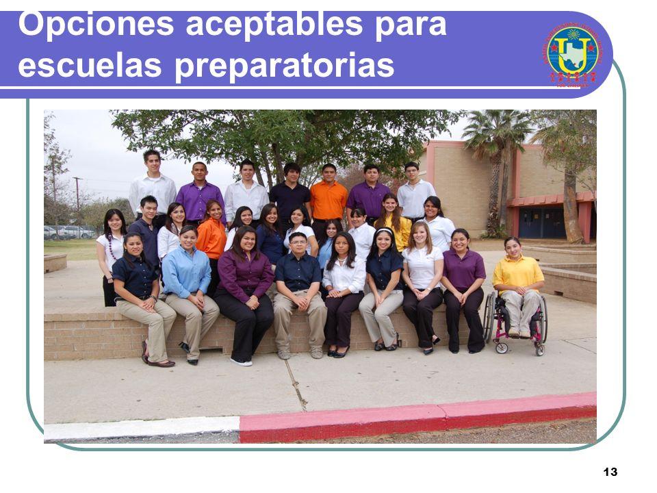 12 Opciones de color seleccionados para las escuelas preparatorias 9 no – 12 vo United High School: Naranja United South High School: Azul carolina Al