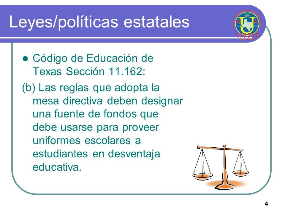 4 Leyes/políticas estatales Código de Educación de Texas Sección 11.162: (b) Las reglas que adopta la mesa directiva deben designar una fuente de fondos que debe usarse para proveer uniformes escolares a estudiantes en desventaja educativa.