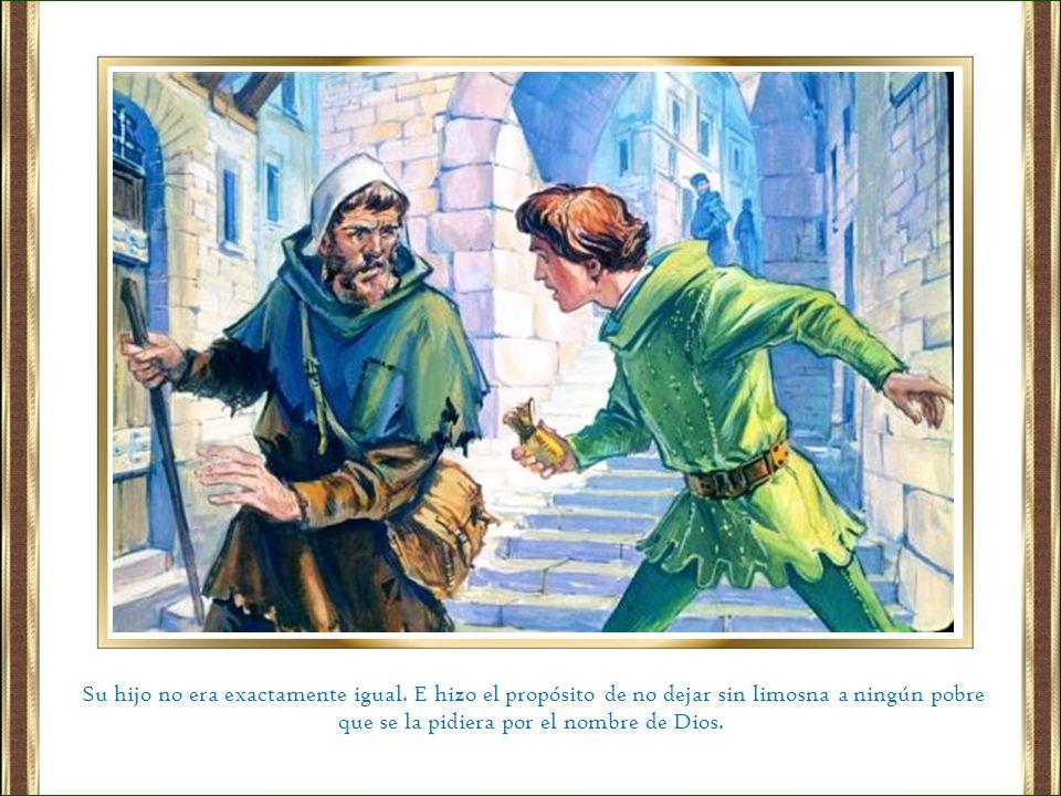 Cargó el caballo con telas y fue y las vendió y el dinero lo dio a los pobres.