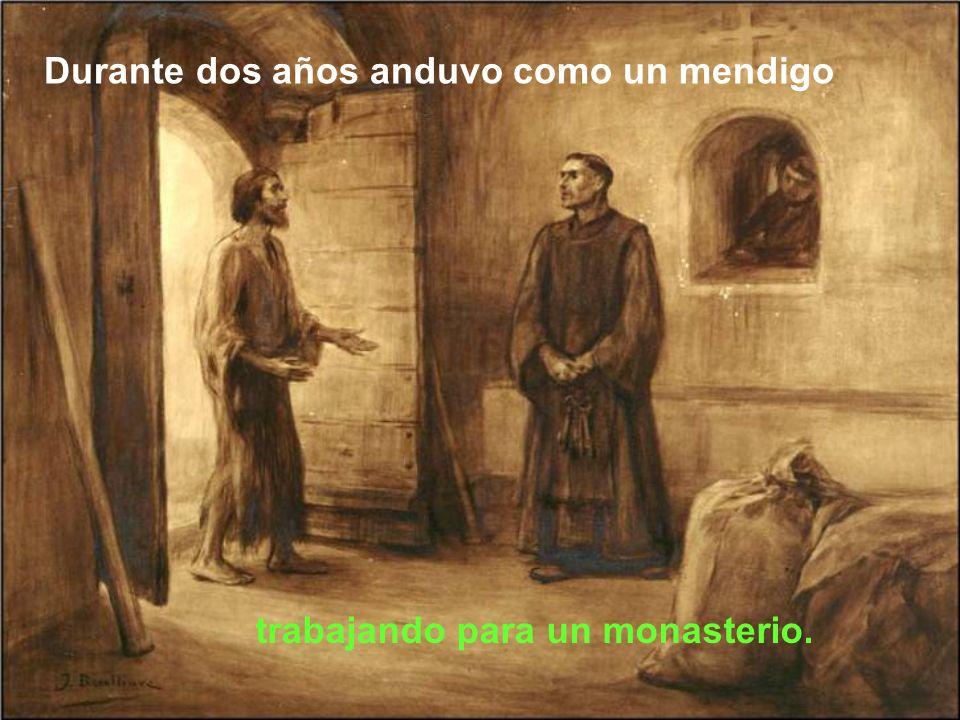 El obispo le regaló a Francisco un vestido de labrador. Francisco hizo sobre el vestido una cruz con una tiza y se volvió a san Damián.