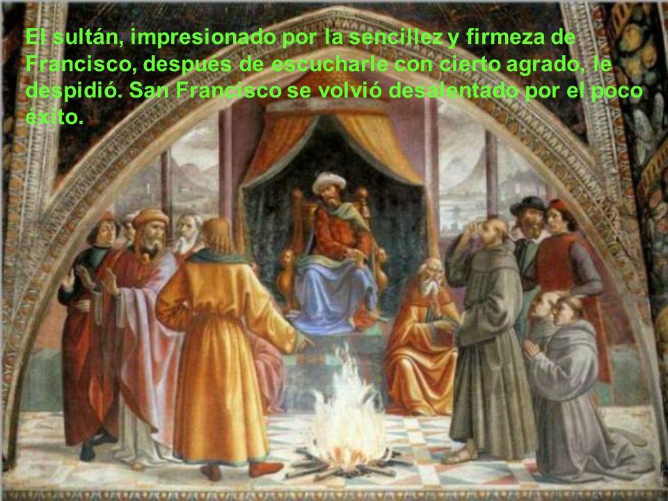 San Francisco le dijo al sultán: No son los hombres quienes me han enviado, sino Dios todopoderoso. Vengo para enseñaros el camino de la salvación… Y